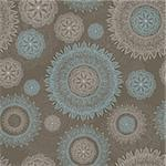 vector seamless lacy pattern with snowflakes and flowers Stock Photo - Royalty-Free, Artist: alexmakarova                  , Code: 400-05902666