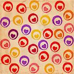 coloured hearts with circles on old paper Stock Photo - Royalty-Free, Artist: marinini                      , Code: 400-05903123