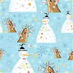 seamless pattern of winter snowmen and trees on a blue background with snowflakes