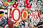 One hundred percent on abstract letters background