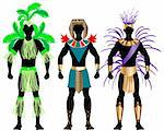 Vector Illustration of three male Costumes for Festival, Mardi Gras, Carnival, Halloween or more.