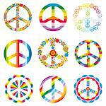 set of abstract peace symbols vector illustration Stock Photo - Royalty-Free, Artist: SelenaMay, Code: 400-05905264