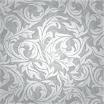 abstract seamless silver floral background vector illustration Stock Photo - Royalty-Free, Artist: SelenaMay                     , Code: 400-05905274