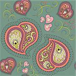 Cute ornamental colorful heart paisley seamless pattern