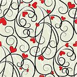 Wave floral heart seamless background. Summer curl, swirl love ornament. Valentine pattern vector illustration. Stock Photo - Royalty-Free, Artist: svetap                        , Code: 400-05905831