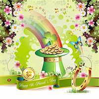 St. Patrick's Day card design with clover and coins Stock Photo - Royalty-Freenull, Code: 400-05906688