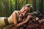 Blond girl dressed in dress walk in a magic forest Stock Photo - Royalty-Free, Artist: Fotolit                       , Code: 400-05906877