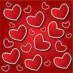 Red Hearts With Shadow Valentine's day vector illustration Postcard eps 10 Stock Photo - Royalty-Free, Artist: BooblGum                      , Code: 400-05906991
