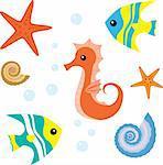 Set of sea life: seahorse, fish, shell, starfish