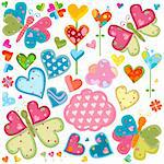 love butterflies and flowers set Stock Photo - Royalty-Free, Artist: dip                           , Code: 400-05908023