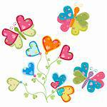 sweet love flower and butterflies Stock Photo - Royalty-Free, Artist: dip                           , Code: 400-05908024