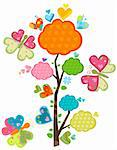 love tree and butterflies Stock Photo - Royalty-Free, Artist: dip                           , Code: 400-05908035