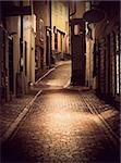 Narrow street in the old town of Stockholm at night Stock Photo - Royalty-Free, Artist: PinkBadger                    , Code: 400-05908699