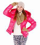 Cute young woman wearing winter jacket scarf and cap Stock Photo - Royalty-Free, Artist: dash                          , Code: 400-05908723