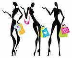 Vector Illustration shopping women with bags.  Isolated. Stock Photo - Royalty-Free, Artist: katyau                        , Code: 400-05909053