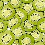 Vector background with hand-drawn green kiwi slices Stock Photo - Royalty-Free, Artist: fandorina                     , Code: 400-05909097