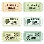 Set of Cinema Tickets in Different Colors and Styles, vector illustration Stock Photo - Royalty-Free, Artist: TAlex                         , Code: 400-05909314