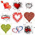 Set of Nine Hearts on Valentine's Day in Different Styles, vector illustration Stock Photo - Royalty-Free, Artist: TAlex                         , Code: 400-05909344