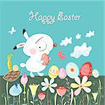 Graphic little Easter Bunny on a blue background with flowers and eggs Stock Photo - Royalty-Free, Artist: tanor                         , Code: 400-05909402