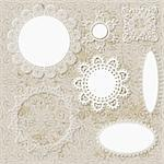 vector lacy scrapbook napkin design patterns on seamless grungy background Stock Photo - Royalty-Free, Artist: alexmakarova                  , Code: 400-05909805