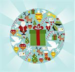 Christmas icon set in circle shape background. Vector file available. Stock Photo - Royalty-Free, Artist: cienpiesnf                    , Code: 400-05910151