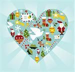 Christmas icon set in heart shape background. Vector file available. Stock Photo - Royalty-Free, Artist: cienpiesnf                    , Code: 400-05910153