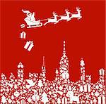 Christmas icon set in city shape and Santa delivers gifts from his sledge. Vector file illustration available. Stock Photo - Royalty-Free, Artist: cienpiesnf                    , Code: 400-05910157