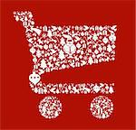 Christmas icon set in shopping cart shape background. Vector file available. Stock Photo - Royalty-Free, Artist: cienpiesnf                    , Code: 400-05910159