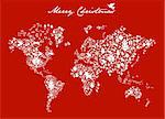 Merry Xmas with icon set in globe world map background. Vector file available. Stock Photo - Royalty-Free, Artist: cienpiesnf                    , Code: 400-05910163