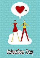 Happy couple in Love Valentines day greeting card background. Vector file available. Stock Photo - Royalty-Freenull, Code: 400-05910290