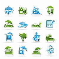 flooded homes - Insurance and risk icons - vector icon set Stock Photo - Royalty-Freenull, Code: 400-05910461