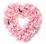 Heart Shaped Pink Rose Arrangement on a White Background. Stock Photo - Royalty-Free, Artist: Feverpitched                  , Code: 400-05910912