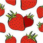 Vector seamless pattern with ripe strawberry on a white Stock Photo - Royalty-Free, Artist: fandorina                     , Code: 400-05910926