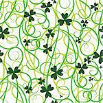 Seamless flower shamrock leaves. Background clover vector. Green wallpaper. St. Patrick's Day. Irish illustration. Stock Photo - Royalty-Free, Artist: svetap                        , Code: 400-05911166