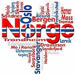 Written Norge and norwegian cities with heart-shaped, norwegian flag colors Stock Photo - Royalty-Free, Artist: catalby                       , Code: 400-05911544