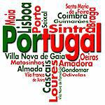 Written Portugal and portuguese cities with heart-shaped, portuguese flag colors Stock Photo - Royalty-Free, Artist: catalby                       , Code: 400-05911545