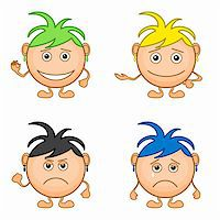 Set of smilies girls with colored hair, symbolising various human emotions. Vector Stock Photo - Royalty-Freenull, Code: 400-05911922