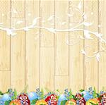 Easter wooden background with lace frame, eggs and forget-me-not flowers Stock Photo - Royalty-Free, Artist: SNR                           , Code: 400-05912065