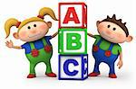 cute boy and girl with ABC blocks - high quality 3d illustration