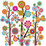 sweet floral tree and butterflies Stock Photo - Royalty-Free, Artist: dip                           , Code: 400-05913233