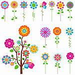 colorful retro flowers and tree set Stock Photo - Royalty-Free, Artist: dip                           , Code: 400-05913251