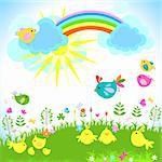 bright spring with rainbow Stock Photo - Royalty-Free, Artist: dip                           , Code: 400-05913273