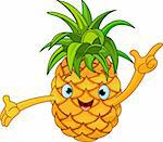 Illustration of Cheerful Cartoon Pineapple character Stock Photo - Royalty-Free, Artist: Dazdraperma                   , Code: 400-05913600