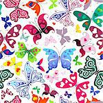 White seamless valentine pattern with colorful butterflies and hearts (vector) Stock Photo - Royalty-Free, Artist: OlgaDrozd                     , Code: 400-05913609