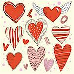 Cartoon red and pink design hearts set with letter