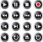 Multimedia control glossy icon/button set for web, applications, electronic and press media.Vector illustration Stock Photo - Royalty-Free, Artist: mmar                          , Code: 400-05913773