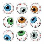 Set of eyeball symbols on white background. Vector Illustration Stock Photo - Royalty-Free, Artist: fixer00                       , Code: 400-05914317