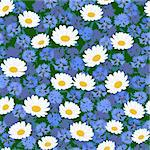 Seamless pattern with camomiles and cornflower background Stock Photo - Royalty-Free, Artist: 100ker                        , Code: 400-05914810