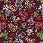 Decorative seamless background with multicolored heart patterns. Stock Photo - Royalty-Free, Artist: tatianat                      , Code: 400-05914814