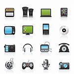 multimedia and technology icons - vector icon set Stock Photo - Royalty-Free, Artist: stoyanh                       , Code: 400-05915008